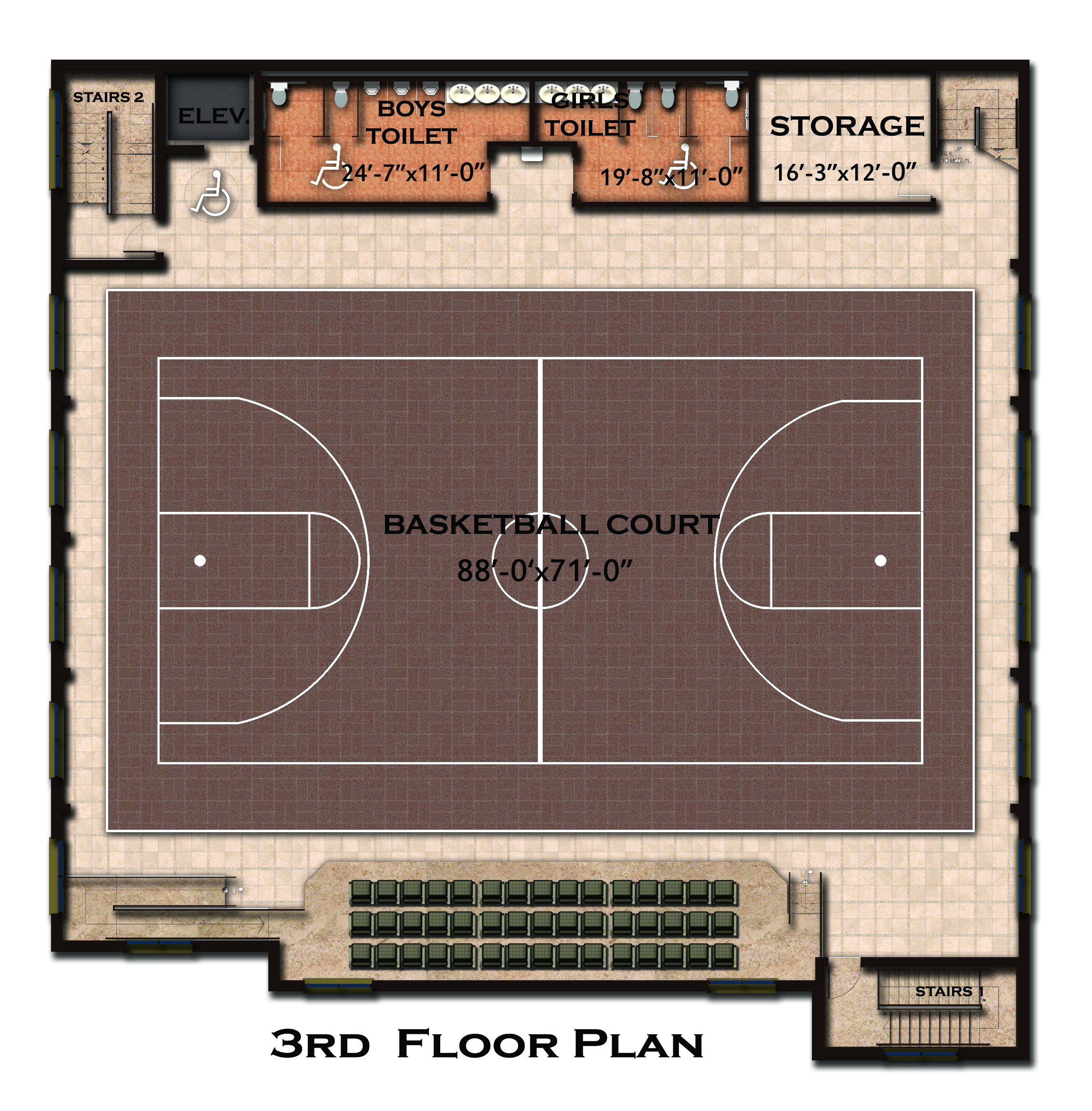 New building floor plan and features coptic orthodox for Basketball gym floor plan