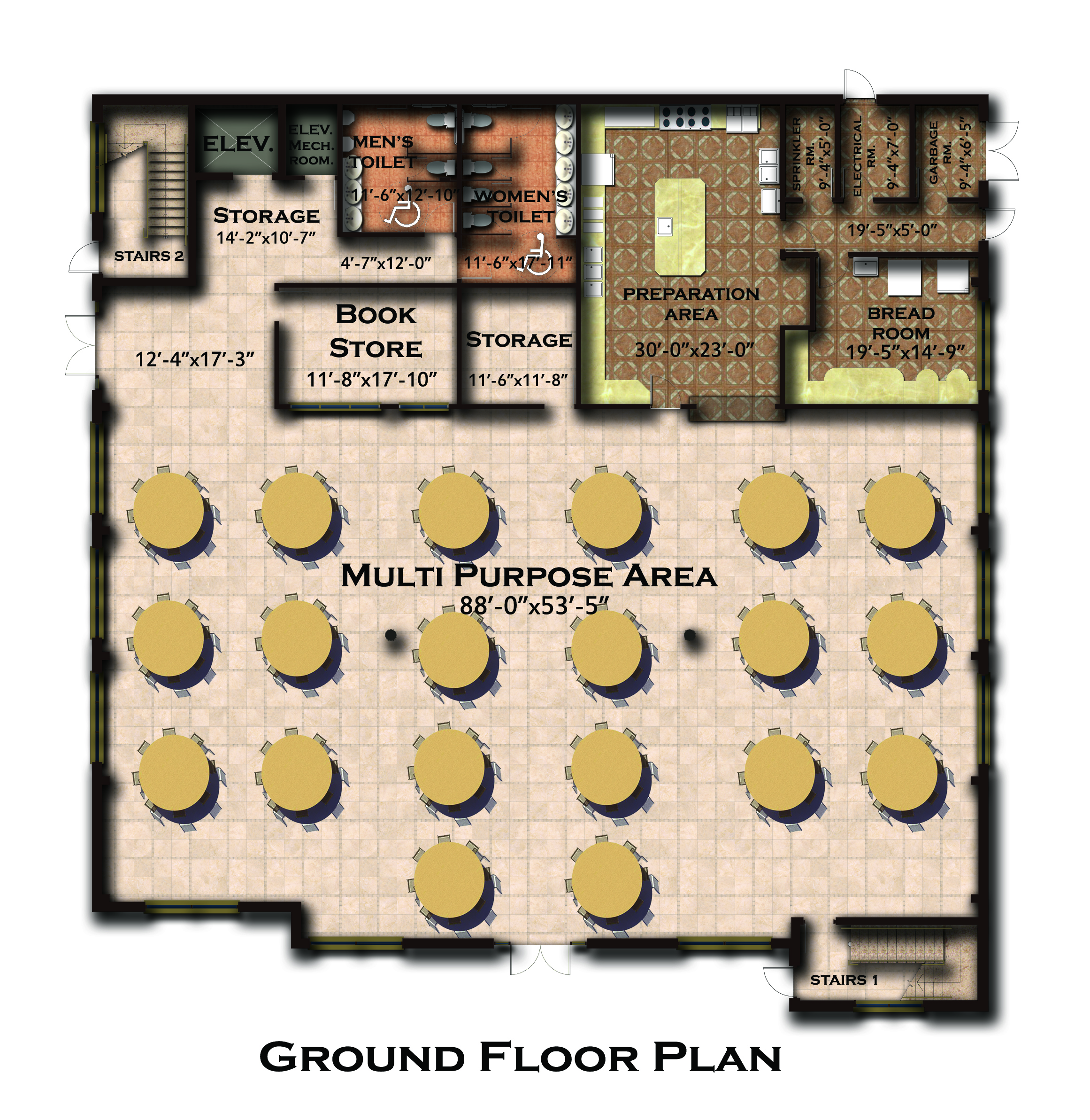 New building floor plan and features coptic orthodox for Multi purpose building plans